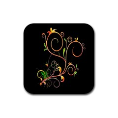 Flowers Neon Color Rubber Square Coaster (4 pack)