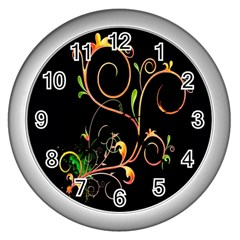 Flowers Neon Color Wall Clocks (Silver)