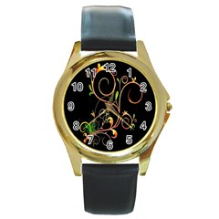 Flowers Neon Color Round Gold Metal Watch