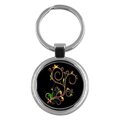 Flowers Neon Color Key Chains (round)