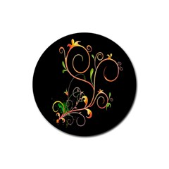 Flowers Neon Color Rubber Coaster (Round)