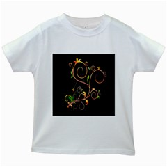 Flowers Neon Color Kids White T-Shirts