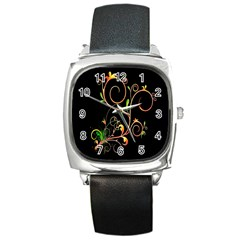 Flowers Neon Color Square Metal Watch