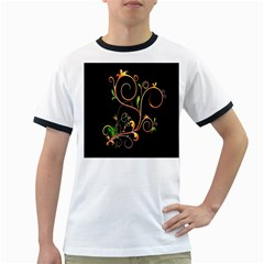 Flowers Neon Color Ringer T-Shirts