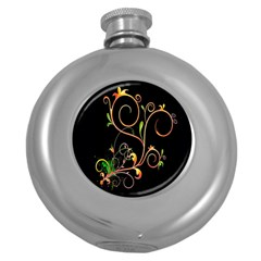 Flowers Neon Color Round Hip Flask (5 oz)