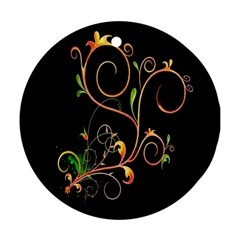 Flowers Neon Color Round Ornament (two Sides)