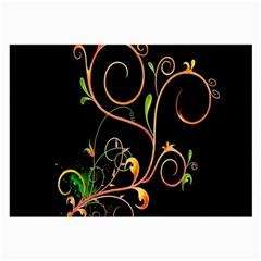 Flowers Neon Color Large Glasses Cloth (2 Side)