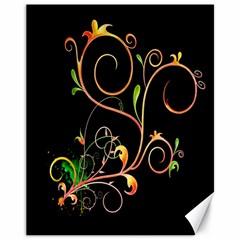 Flowers Neon Color Canvas 11  X 14