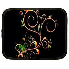 Flowers Neon Color Netbook Case (large)