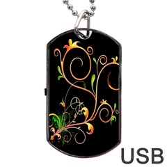 Flowers Neon Color Dog Tag USB Flash (One Side)