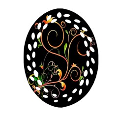 Flowers Neon Color Oval Filigree Ornament (Two Sides)