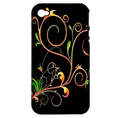Flowers Neon Color Apple iPhone 4/4S Hardshell Case (PC+Silicone)