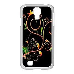 Flowers Neon Color Samsung GALAXY S4 I9500/ I9505 Case (White)