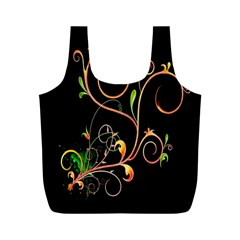 Flowers Neon Color Full Print Recycle Bags (M)