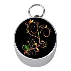 Flowers Neon Color Mini Silver Compasses