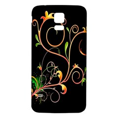 Flowers Neon Color Samsung Galaxy S5 Back Case (White)