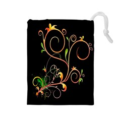 Flowers Neon Color Drawstring Pouches (Large)