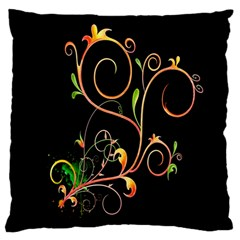 Flowers Neon Color Large Flano Cushion Case (Two Sides)