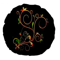 Flowers Neon Color Large 18  Premium Flano Round Cushions