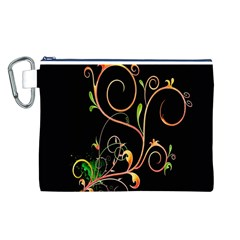 Flowers Neon Color Canvas Cosmetic Bag (L)