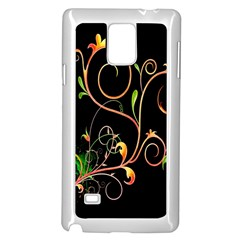Flowers Neon Color Samsung Galaxy Note 4 Case (White)