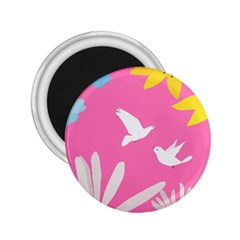 Spring Flower Floral Sunflower Bird Animals White Yellow Pink Blue 2 25  Magnets
