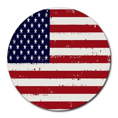 Flag United States United States Of America Stripes Red White Round Mousepads