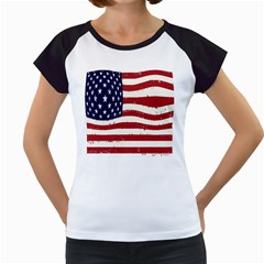 Flag United States United States Of America Stripes Red White Women s Cap Sleeve T