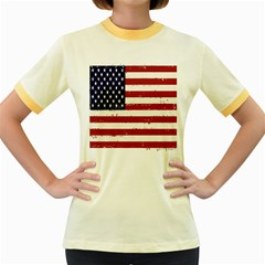 Flag United States United States Of America Stripes Red White Women s Fitted Ringer T-Shirts