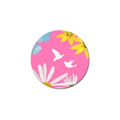Spring Flower Floral Sunflower Bird Animals White Yellow Pink Blue Golf Ball Marker (10 pack)