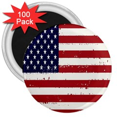 Flag United States United States Of America Stripes Red White 3  Magnets (100 pack)