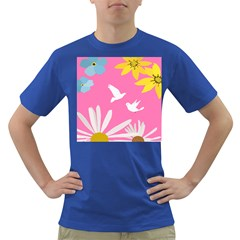 Spring Flower Floral Sunflower Bird Animals White Yellow Pink Blue Dark T Shirt
