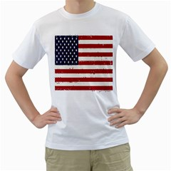 Flag United States United States Of America Stripes Red White Men s T-Shirt (White) (Two Sided)