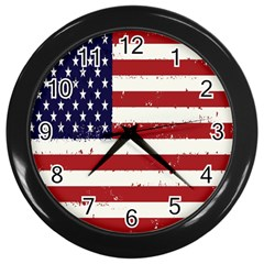 Flag United States United States Of America Stripes Red White Wall Clocks (Black)