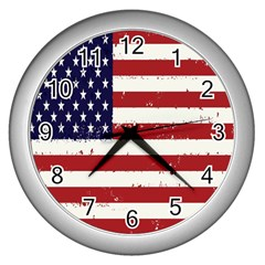 Flag United States United States Of America Stripes Red White Wall Clocks (Silver)