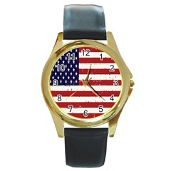 Flag United States United States Of America Stripes Red White Round Gold Metal Watch