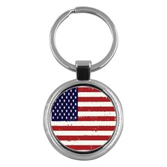 Flag United States United States Of America Stripes Red White Key Chains (Round)