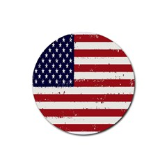 Flag United States United States Of America Stripes Red White Rubber Round Coaster (4 Pack)