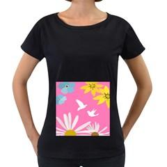 Spring Flower Floral Sunflower Bird Animals White Yellow Pink Blue Women s Loose-Fit T-Shirt (Black)
