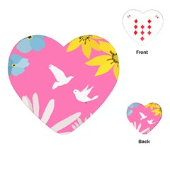 Spring Flower Floral Sunflower Bird Animals White Yellow Pink Blue Playing Cards (Heart)