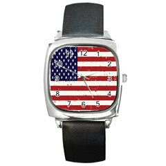 Flag United States United States Of America Stripes Red White Square Metal Watch
