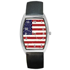 Flag United States United States Of America Stripes Red White Barrel Style Metal Watch