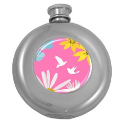 Spring Flower Floral Sunflower Bird Animals White Yellow Pink Blue Round Hip Flask (5 oz)