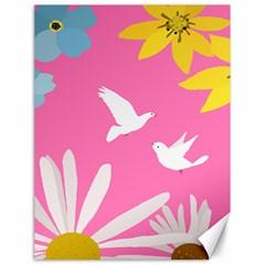 Spring Flower Floral Sunflower Bird Animals White Yellow Pink Blue Canvas 18  x 24