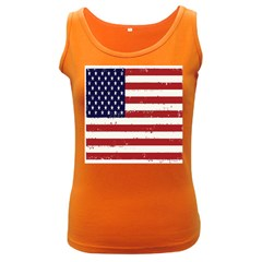Flag United States United States Of America Stripes Red White Women s Dark Tank Top