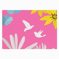 Spring Flower Floral Sunflower Bird Animals White Yellow Pink Blue Large Glasses Cloth (2-Side)
