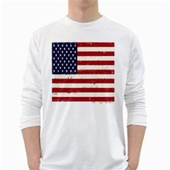Flag United States United States Of America Stripes Red White White Long Sleeve T-Shirts