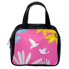Spring Flower Floral Sunflower Bird Animals White Yellow Pink Blue Classic Handbags (One Side)