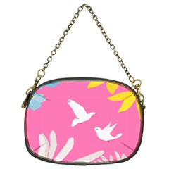 Spring Flower Floral Sunflower Bird Animals White Yellow Pink Blue Chain Purses (One Side)