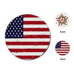 Flag United States United States Of America Stripes Red White Playing Cards (Round)